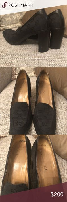 Gucci Denim Black GG Pumps size 7B Authentic Gucci Denim GG print black pumps size 7B.  This item is preowned.  Leathers on uppers and soles, covered by denim black print GG canvas.  The caps on the heels are in good condition.  There is wear on the heels.  This item is pre-owned. Gucci Shoes Heels