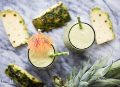This Piña Colada Smoothie is sunshine in a glass! We love this as an enzyme-rich… Pina Colada Smoothie Recipe, Smoothie Drinks, Breakfast Smoothies, Smoothie Recipes, Avocado Smoothie, Breakfast Recipes, Yummy Drinks, Healthy Drinks, Healthy Recipes