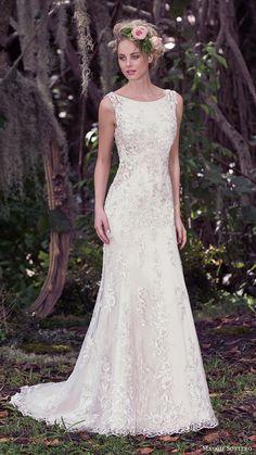 maggie sottero bridal fall 2016 sleeveless bateau neck sheath wedding dress (aspen) mv