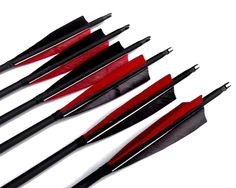 "Best-selling Black Archery 31"" Carbon Fiber Hunting/Targeting Arrows Fletching 5"" Black & Red Peltate Shape True Feathers With Replacement Screw-in Field Points (6 Pack)"