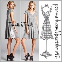 Casual Lace Inlay Dress The perfect casual V-neck, short sleeve spring/summer shift dress in heather grey. Featuring a textured cotton with lace inlay detail at hemline. Great comfy everyday wear pair with sandals, flip flops or cute canvas sneakers. Size S, M, L Threads & Trends Dresses