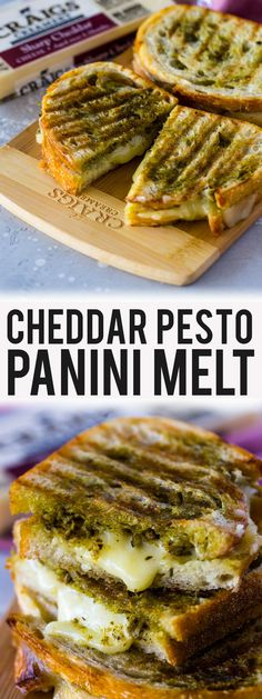 Cheddar Pesto Panini Melts - 🔥🧀 Pesto and cheddar grilled cheese paninis featuring Craigs Creamery are buttery cheesy, sup - Gourmet Recipes, Vegetarian Recipes, Dinner Recipes, Cooking Recipes, Healthy Recipes, Vegetarian Panini, Delicious Recipes, Vegetarian Sandwiches, Going Vegetarian