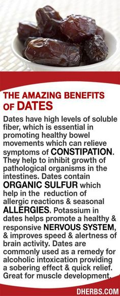 Dates have high levels of soluble fiber, essential in promoting healthy bowel movements relieving constipation. Help to inhibit growth of pathological organisms in the intestines. Its organic sulfur helps in the reduction of allergic reactions & seasonal Natural Cure For Arthritis, Natural Cures, Natural Health, Health And Nutrition, Health And Wellness, Health Tips, Wellness Mama, Wellness Quotes, Wellness Tips