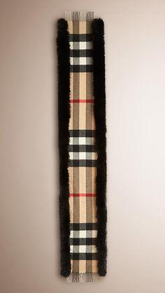 Camel/black Fur-trimmed Check Cashmere Scarf - Image 3