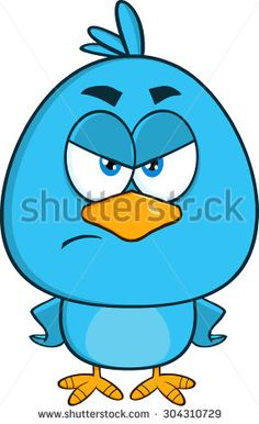 Angry Blue Bird Cartoon Character. Vector Illustration Isolated On White
