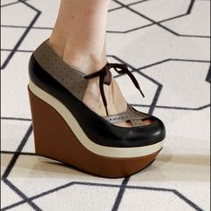 """Marni color blocked wedge Brown, black, cream wedge heels. Lace up front detail. Includes original box, dust bag. EXCELLENT condition. Only worn a handful of times. Back heel is approx 5.5"""" and front platform 2.5"""" extremely comfortable!!! Marni Shoes Wedges"""