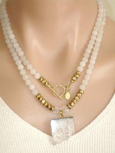 Ashira White Jade Gemstone Necklace with GF 225.00 White Amethiste Druzy Crystal
