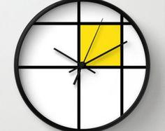 Mondrian Mondrian 2 gelb Wanduhr Mondrian gelb von GorgeousGD