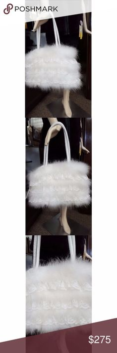 731b730f2dde White Marabou Feather Purse with Ruffled Lace White Marabou Feather Purse  with Ruffled Lace Inserts White