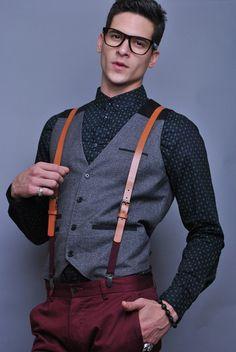 Burgundy pants and tan suspenders  #men // #fashion // #mensfashion