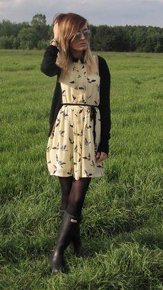 Kinga wearing her Wellingtons with Tights.