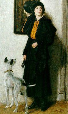 Nicolaas van der Waay, An elegant lady and her dog (Early 20th century)