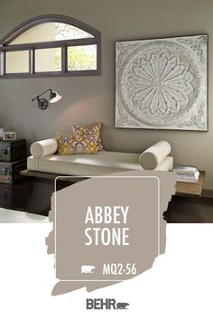 For a warm neutral wall color that brings a touch of coziness to your home, turn to BEHR® Paint in Abbey Stone. This hue is a modern shade of greige. Pair it with similar neutral colors, wood furniture, and pops of orange and yellow accent colors. Click below for full color details to learn more.