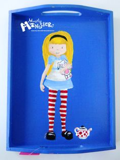 Wooden Tray featuring Alice in Wonderland OOAK by MostlyMonstersCV, $30.00