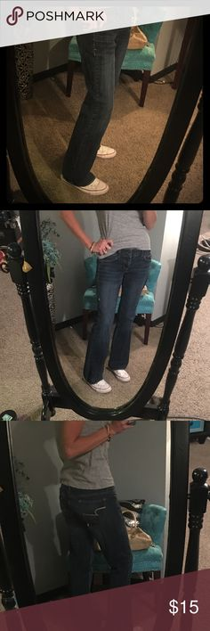 """American eagle artist jean size 4 Size 4 (baggy on me, friends call these my """"Ellen Jeans"""" I love them lol) regular inseam dark wash in excellent condition. (Eek, spot is on my mirror. Not jeans in the one pic) American Eagle Outfitters Jeans Boyfriend"""