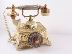 70s ELEGANT FRENCH IMPERIAL Rotary Telephone by by VintageFlicker