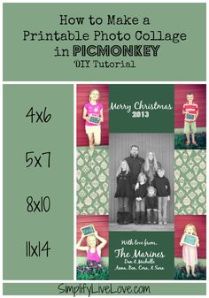 How to Make a Printable Photo Collage using PicMonkey ~ DIY Tutorial. Using this tutorial, you can create your own 4x6, 5x7, or 8x10 printable photo collage.
