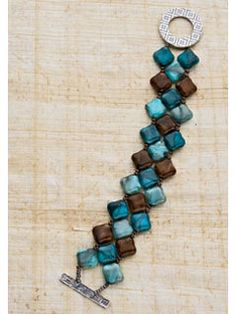 Four Corners bracelet. Using right-angle weave keeps the beads close together, creating a Southwest mosaic feeling. Try other types of diagonally drilled squares like pearls or gemstones to dramatically change the look of this bracelet.