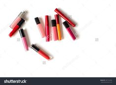 Set Of Make Up Products Of Different Sizes And Shapes Isolated On White Top View. Colorful Lipsticks Collection Vertical Studio Shot. Set Of Color Lipsticks. Stock Photo 487162456 : Shutterstock