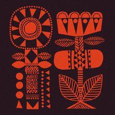 Door no.9 Flower totems. #adventcalendar #joulukalenteri #christmas #sannaannukka #finnishdesign #folk #pattern #inspiredbythenorth #blanket #design Pattern Art, Print Patterns, Pattern Design, Folk Art Flowers, Flower Art, Linocut Prints, Poster Prints, Graphic Design Illustration, Illustration Art
