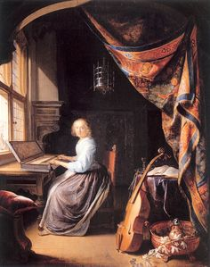 A Woman Playing A Clavichord (c.1665). Gerrit Dou (1613-1675). Oil on panel. Dulwich Picture Gallery. A tapestry curtain is drawn to one side, revealing a young lady, seated before a clavichord, her...