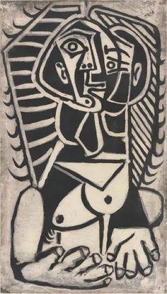 By Pablo Picasso (1881-1973), 1953, Torse de Femme (l'Égyptienne), aquatint.