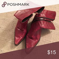 Red leather boots. Awesome vintage red leather boots. Shoes Ankle Boots & Booties