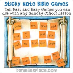 Sticky Note Bible Verse Review Games for Children's Ministry from www.daniellesplace.com