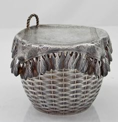 Rare and important Gorham cracker jar with trompe l'Oeil napkin and basket weave