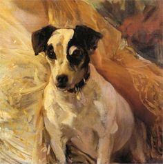 Page: Portrait of a Jack Russell  Artist: Joaquín Sorolla  Completion Date: 1909  Place of Creation: Spain  Style: Impressionism  Genre: animal painting  Technique: oil  Material: canvas  Dimensions: 45.7 x 45.7 cm  Gallery: Private Collection