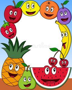 Cartoon Fruit Photo Frame stock illustration - New Site