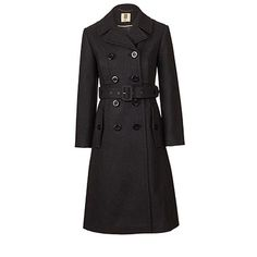 Orla Kiely | UK | Clothing | SALE - Outerwear | Felted Wool Trench Coat (15AWFLT812) | Charcoal