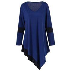 16.82$  Buy now - http://diu5l.justgood.pw/go.php?t=204375201 - Plus Size Longline Asymmetrical T-Shirt 16.82$
