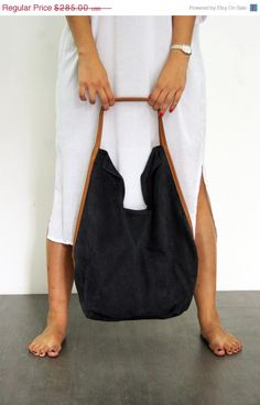 Navy blue leather tote bag Soft leather bag by LadyBirdesign, $242.25
