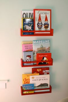Painted IKEA spice racks as book shelves - for the children's room