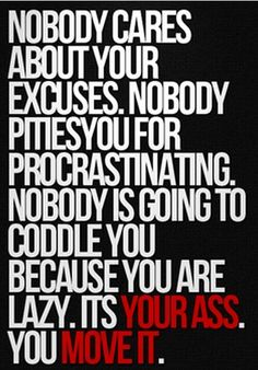 Nobody cares if you don't work out. In fact, they may enjoy you not getting ahead. Look out for yourself and just do it!
