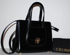 Authentic Celine Vintage Black Leather 2 Way Messenger Bag Mint