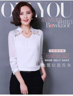2016 nova primavera verão mulheres blusas Lace Plus Size camisas Casual oco de mangas compridas chiffon blusa mulheres Tops 377E 20 em Blusas de Roupas e Acessórios no AliExpress.com | Alibaba Group