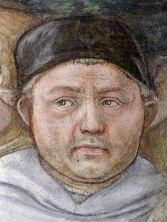 Fra Filippo Lippi. Duomo di Spoleto.  Affresco 1466-1469: scene della vita della Vergine - Funerale della Vergine, particolare: autoritratto