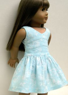American Girl Doll Clothes - Blue and White Floral Print Lisianthus Dress
