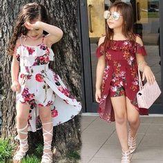 Buy Kid Girl Summer Sweet Clothing Fashion Flower Print Sling Falbala Dress at Wish - Shopping Made Fun Frocks For Girls, Dresses Kids Girl, Kids Outfits Girls, Baby Outfits, Baby Frocks Designs, Kids Frocks Design, Moda Kids, Kids Fashion, Fashion Outfits