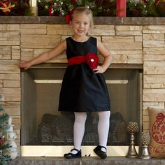 0054f1d8de6 Girls Black Silky Dupioni Ava Gather Dress – Lolly Wolly Doodle Christmas  Dresses