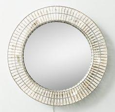 Illuminated Crystal Large Round Mirror