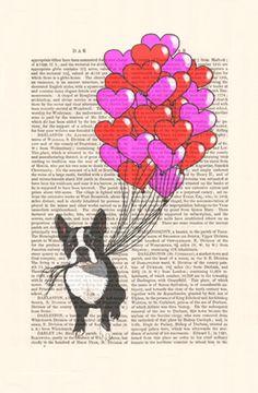 Boston Terrier Valentines Print Acrylic Art Original by FabFunky, $12.00