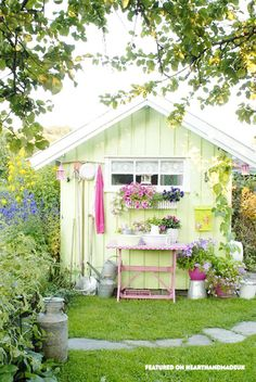 In Need Of Shed Color Ideas? A beautiful shabby chic garden shed in bright colours using a vintage singer sewing machine. Cute Garden Pastel Shed - April 13 2019 at