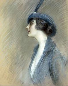 Paul-César Helleu, « Portrait de Claire Weil » Pastel, exécuté à Paris vers 1919