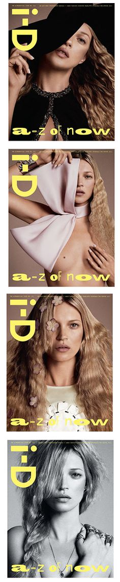 Kate Moss on 4 different i-D magazine covers    Imagery: One eye symbolism