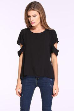 T-Shirt kurzarm mit Schlitz, schwarz 8.27