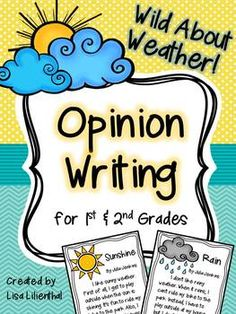This weather opinion writing packet would be a great addition to your weather or water cycle unit! Students will tell what like or dislike about six kinds of weather: sunshine – rain – snow – clouds – wind – thunder & lightning. Common Core Opinion Writing 1st 2nd #opinionwriting