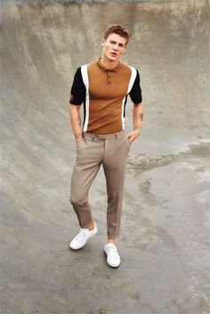 Model Mikkel Jensen dons a color blocked polo shirt and slim trousers with white sneakers for River Island's spring-summer 2017 campaign. Men Fashion Show, Mens Fashion Suits, Fashion Models, Fashion Menswear, Polo Shirt Design, T Shirt Polo, Polo Shirts For Men, Urban Fashion, New Fashion